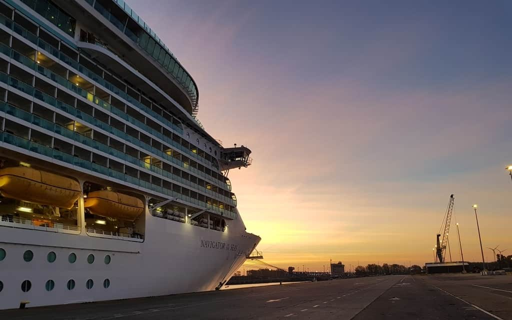 Royal Caribbean cruise ship, Navigator of the Seas docked in Bruges, Belgium, sunrise time