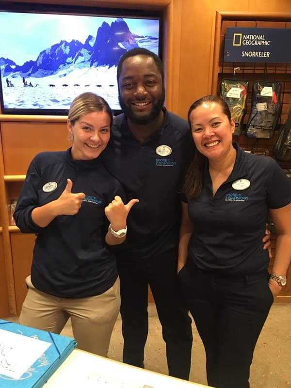 My lovely team and I at the Shore Excursions desk, Independence of the Seas, Royal Caribbean cruise ship