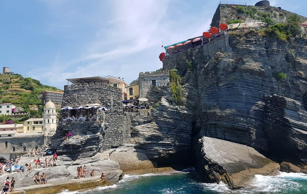 The village of Vernazza, boasting the beautiful beach and a large number of cafes and restaurants