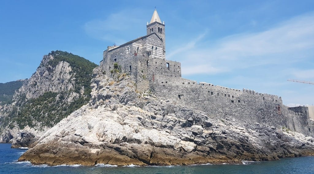 The view of the Church of St. Peter by boat, Portovenere