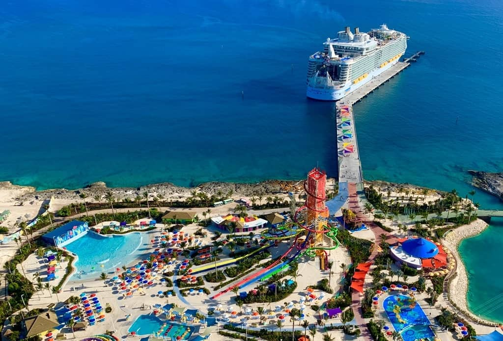 Royal Caribbean's Symphony of the Seas, the largest cruise ship in the world, docked in Cococay, the private Royal Caribbean island.