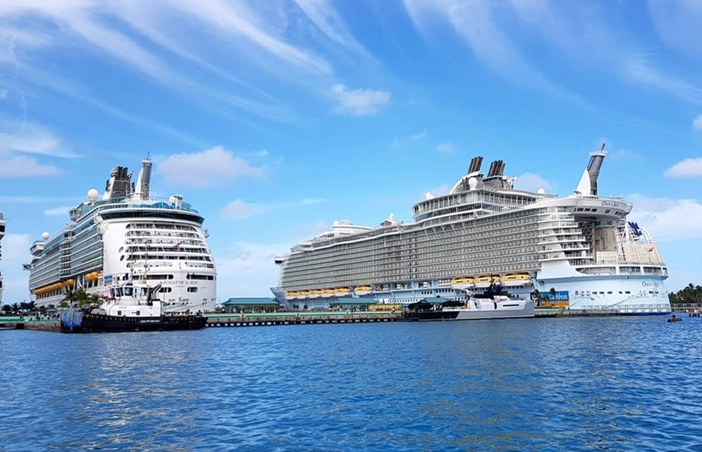 Navigator of the Seas and Oasis of the Seas docked at Nassau cruise port