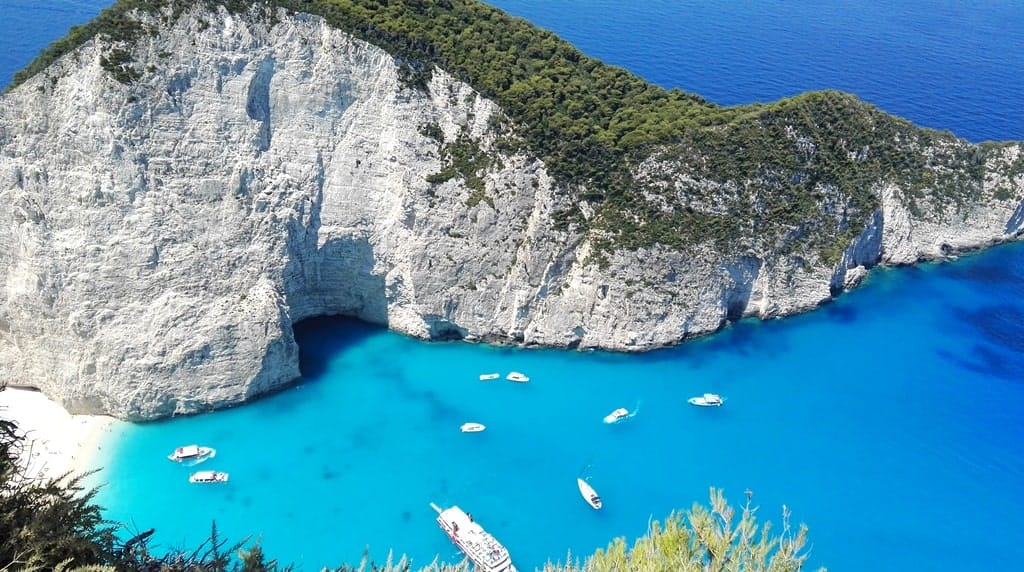 The view over Navagio beach from the viewpoint