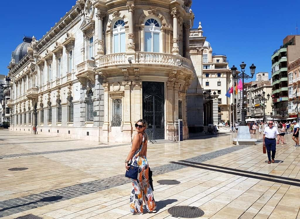 Cartagena city center and the beginning of the pedestrian zone, Spain