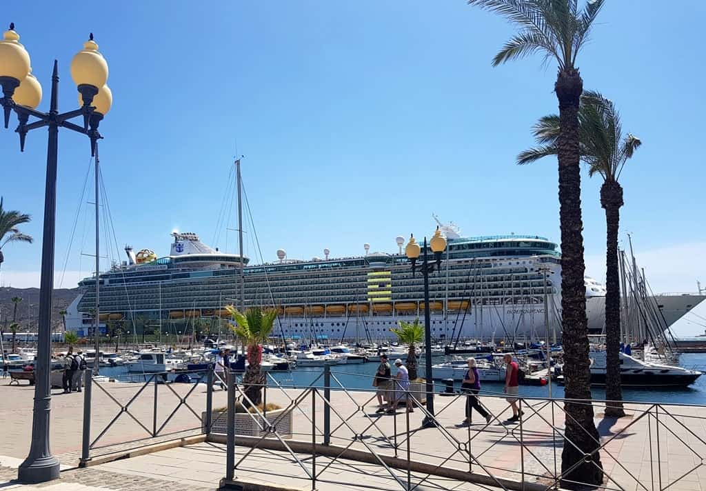 The cruise ship in Cartagena is docked a 10-minute walk from the historic center of the city, Spain