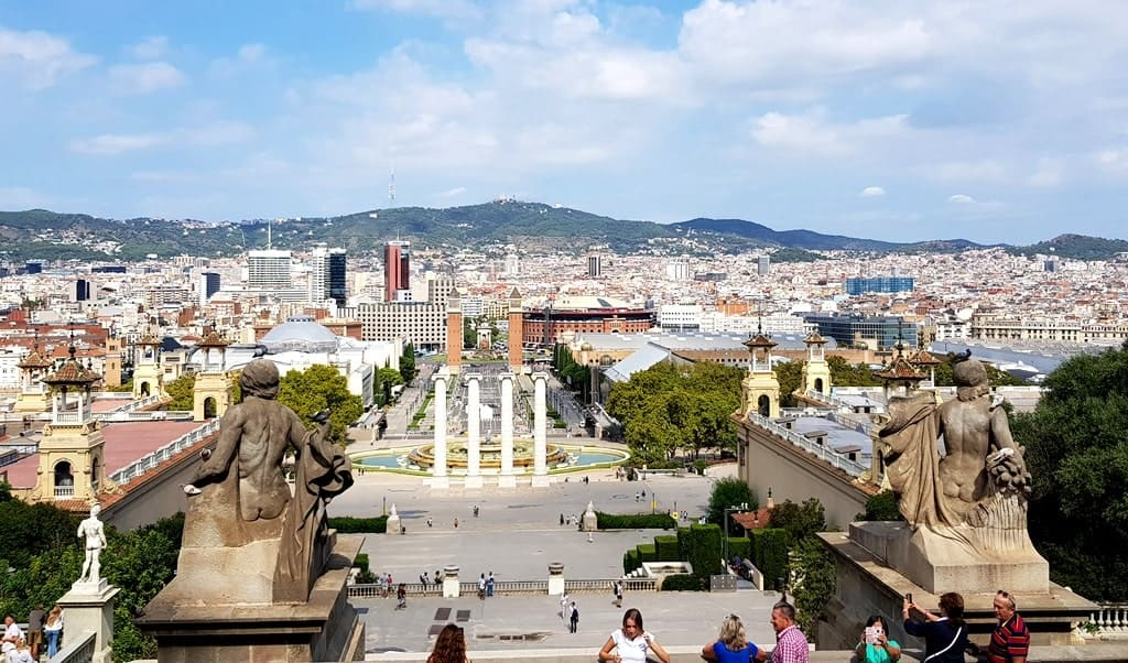Panoramic view of Barcelona from Montjuic Hill