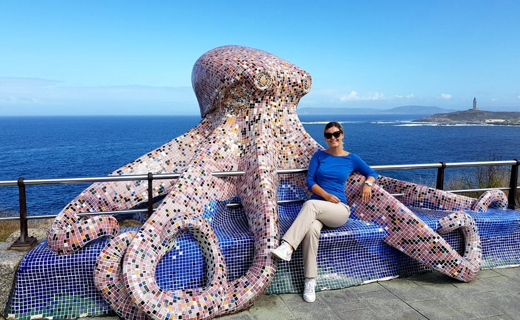 The Octopus sculpture and the Tower of Hercules in the distance, La Coruna, Spain