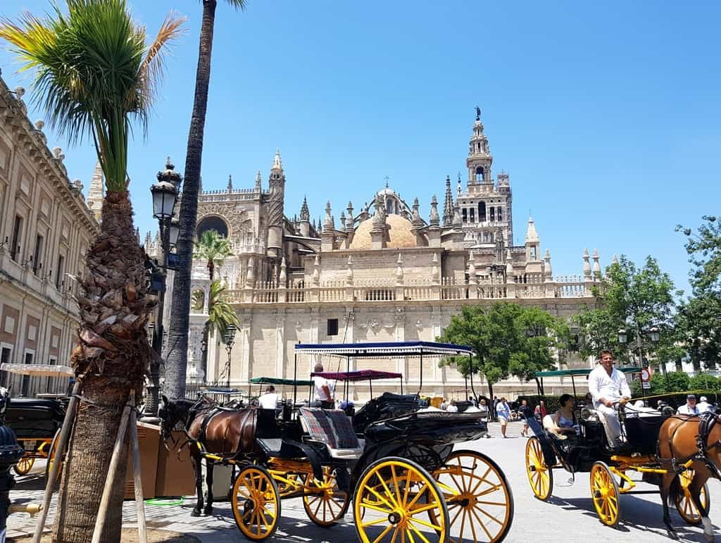 Seville Old Town, and the Cathedral in the background