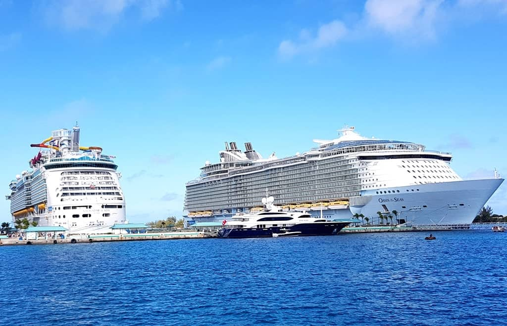 Royal Caribbean cruise ships together in the cruise terminal