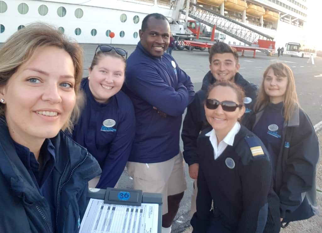 My teammates and I in front of the cruise ship, ready for the tour dispatch in Bruges, Belgium