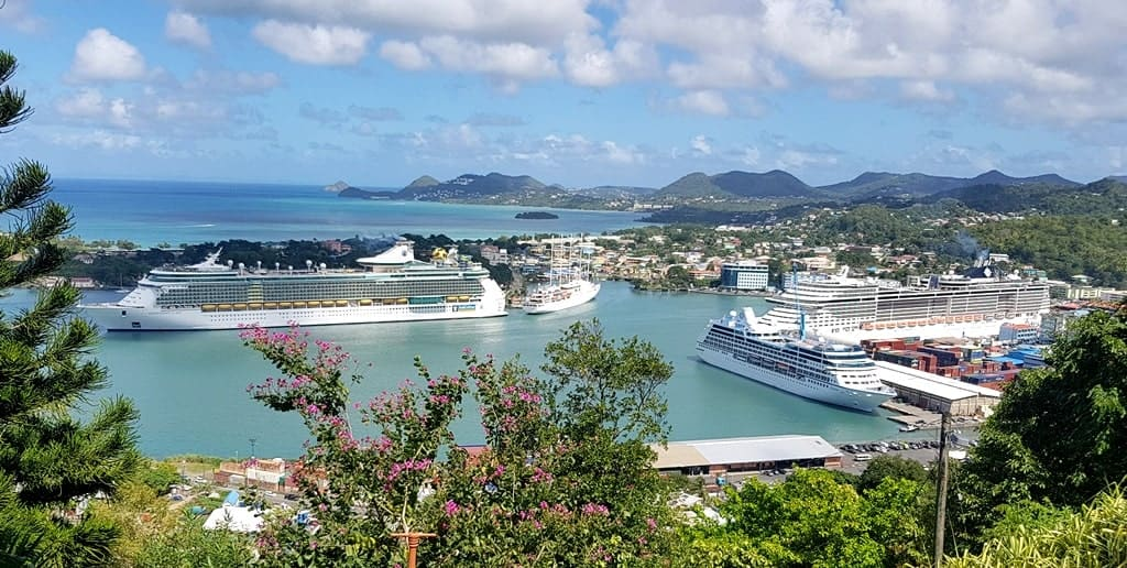 St Lucia Cruise Port, the panoramic view from the hill